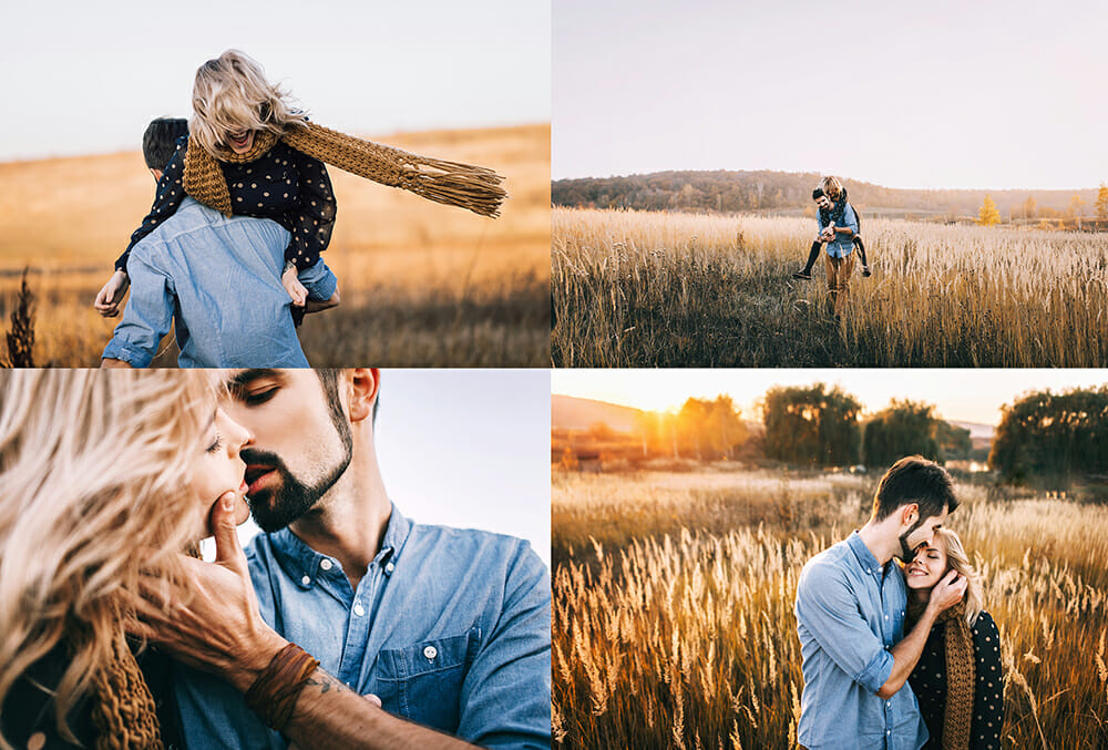 couple portrait photography field kissing walking spinning playful sunset