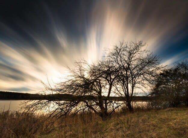 lake water tree branch cloud smooth water slow shutter speed