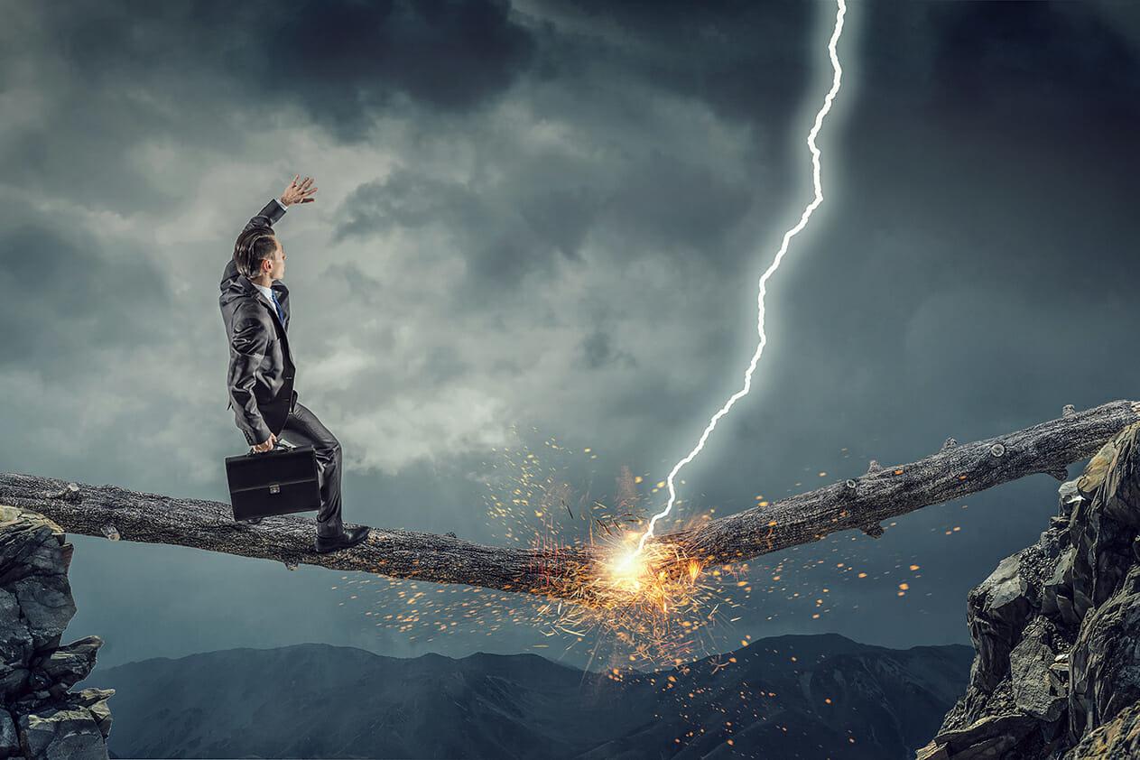 man balance lighting strike danger gorge creative block