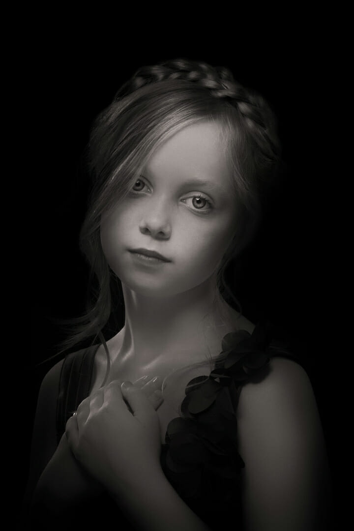 girl portrait black and white low key photography