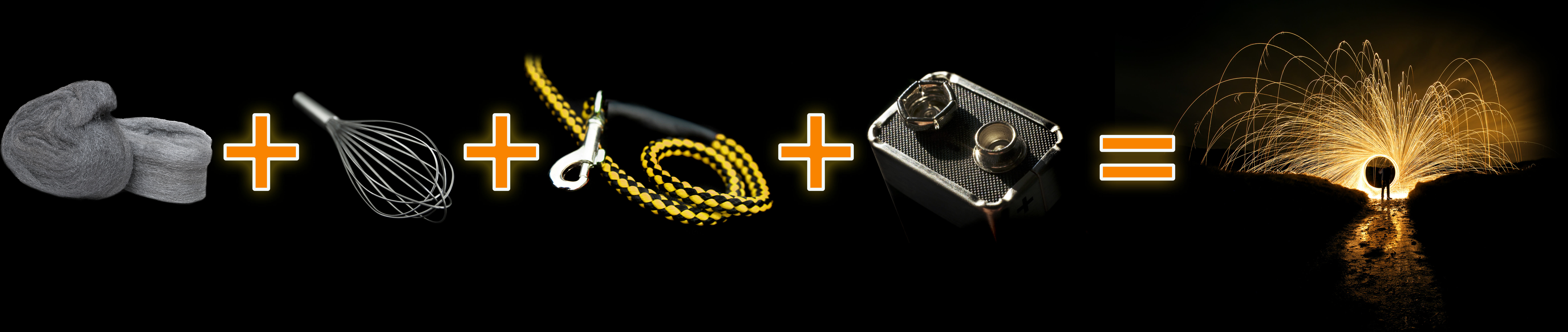 wire wool fire embers battery whisk dog lead 9v light tricks photography