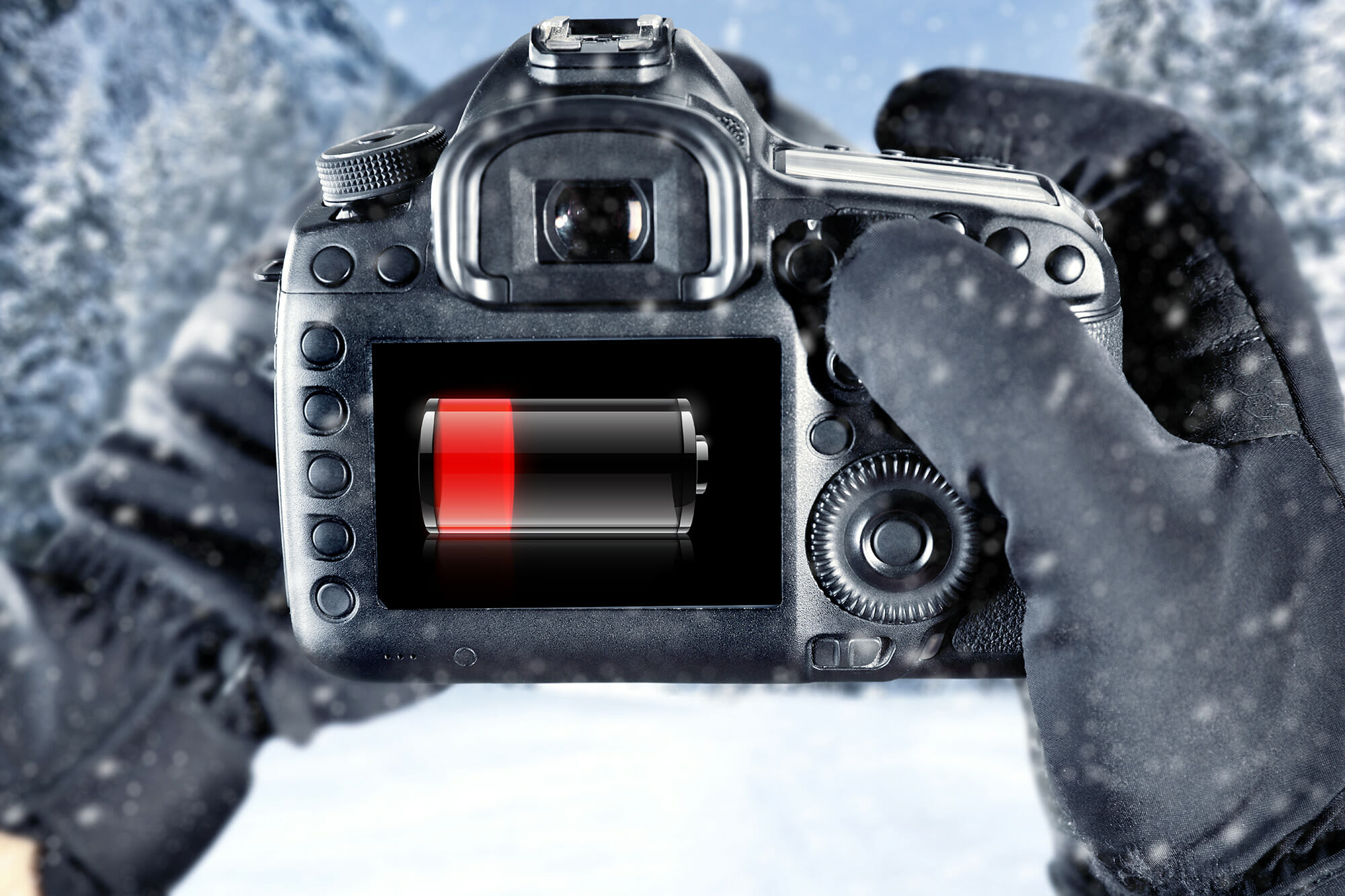 camera battery low drain cold weather snow winter