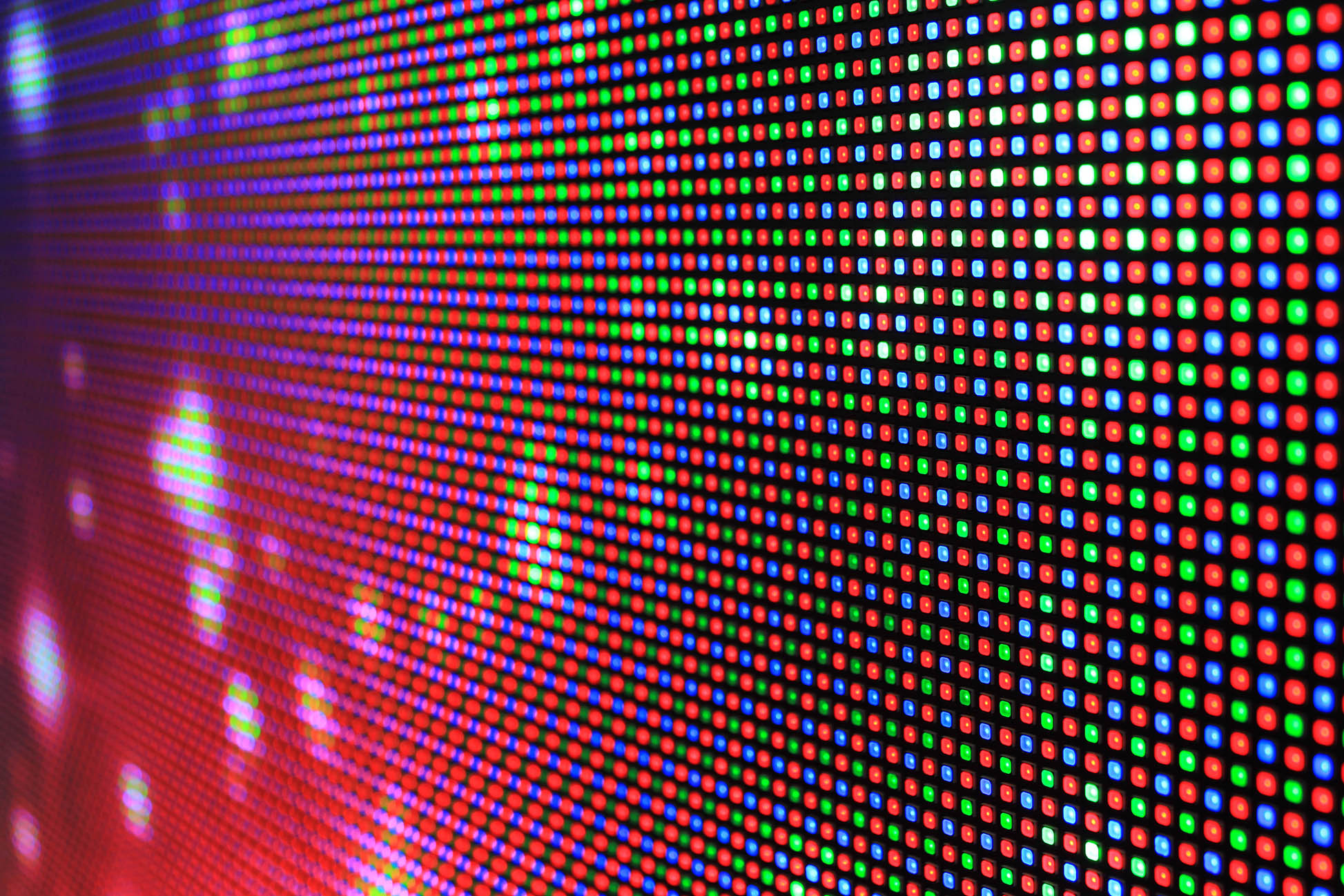 Red blue green led pattern wall of colour space gamut