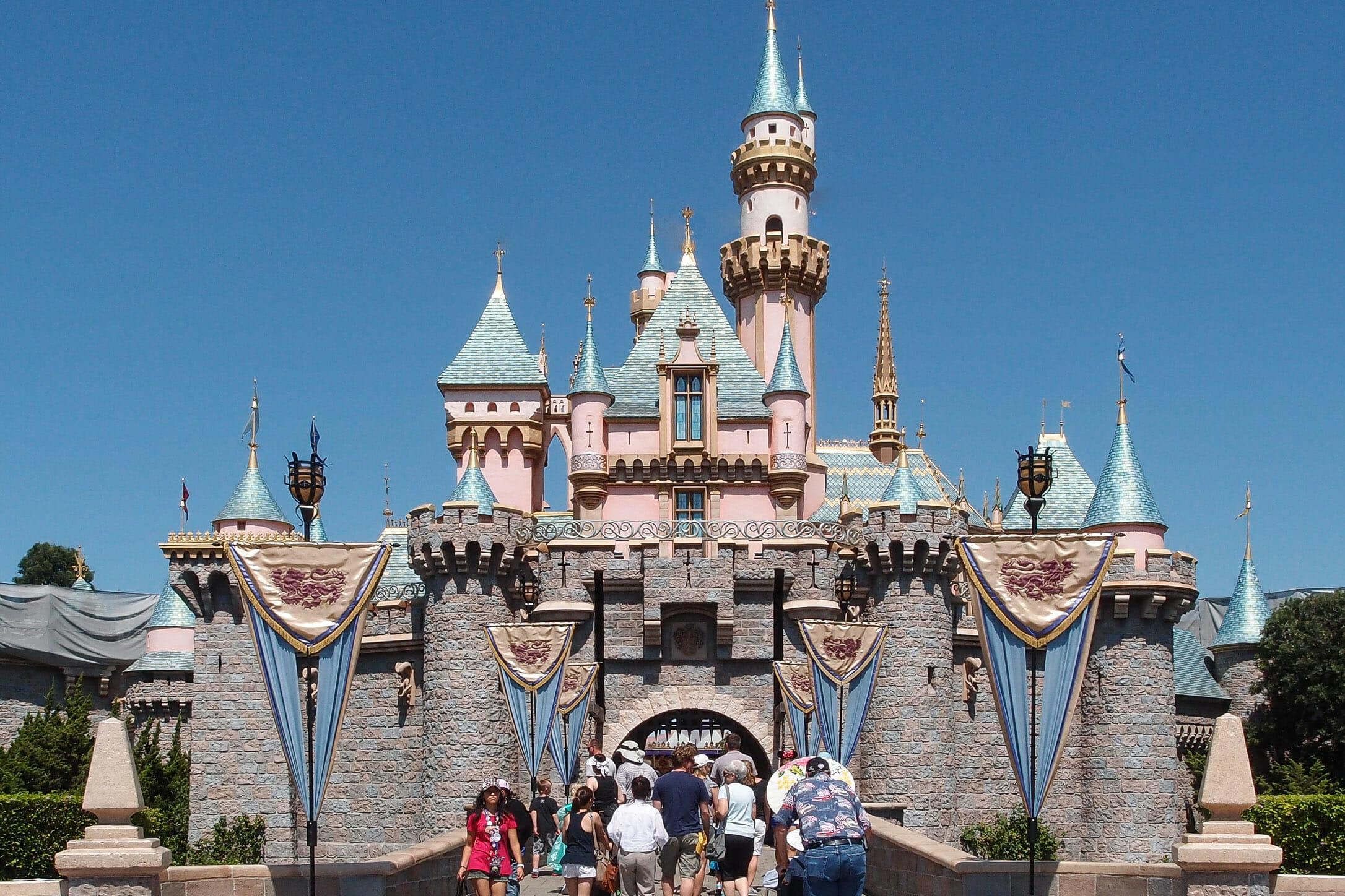 Disneyland California USA Princess Castle Pink Tower Blue Turret tourist destination