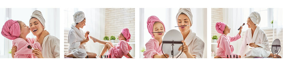 mother child son daughter towels fun candid photography