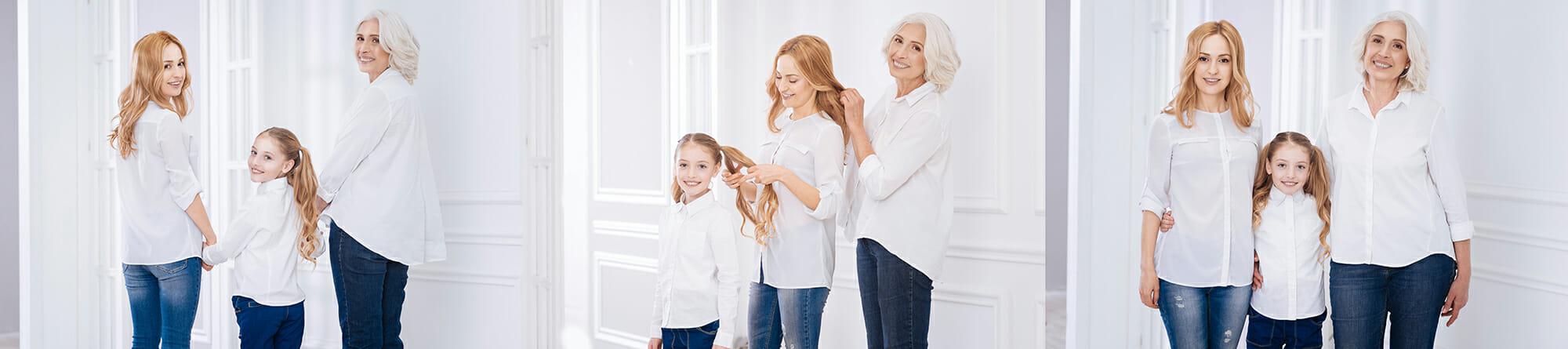 mother child daughter posing fun candid photography grandma white shirts