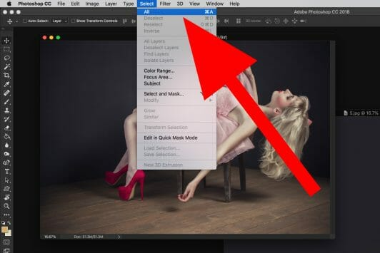 photoshop select all screen capture model pink dress  Levitation photography