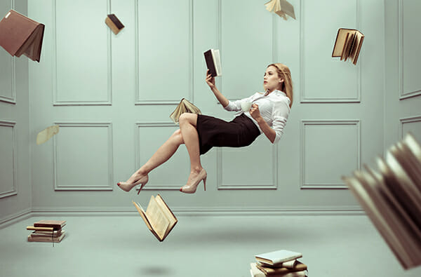 model levitation photography floating books reading pages